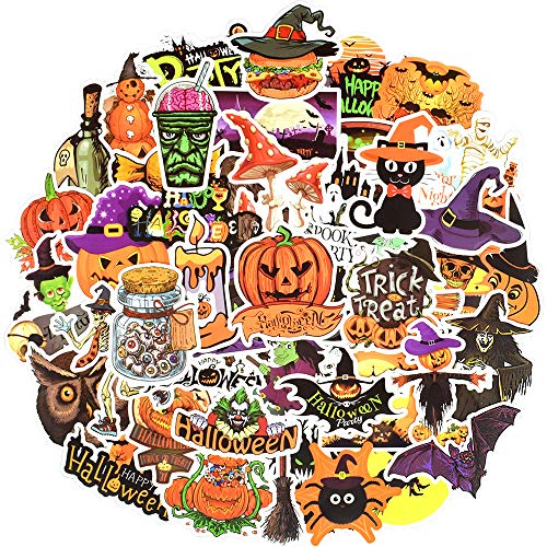 Funny Waterproof Vinyl Stickers for Scrapbooking Water Bottle Party Favors (50 Pcs Halloween Style)