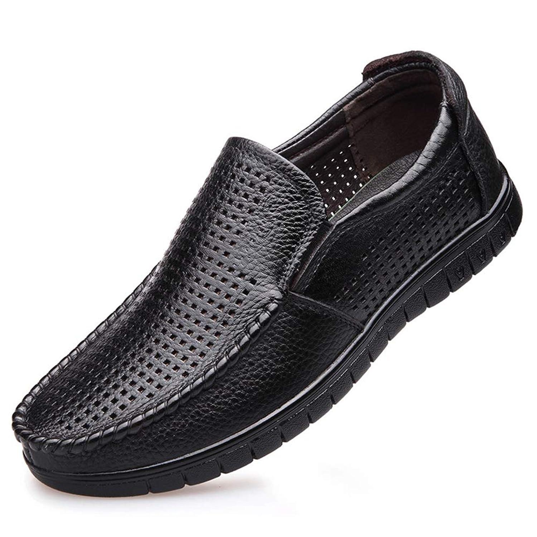 [ジョイジョイ] パンチング加工 スリッポン ドライビングシューズ メンズ 通気性いい カジュアルシューズ サマー ウォーキング 通勤 室内履き モカシン 滑りにくい オフィス 耐磨耗ソール 紳士靴 黒