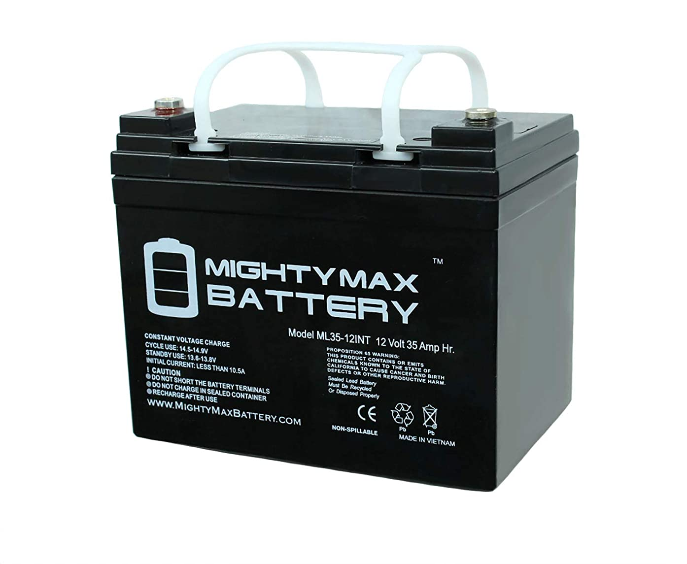 Mighty Max Battery 12V 35AH SLA Internal Thread Battery for John Deere Lawn Tractor Brand Product
