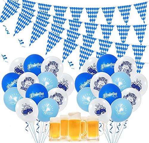 XIAOTU Oktoberfest Dekoration Girlande, Bayrisch Partydeko Oktoberfest Deko 36m/65Wimpeln Banner 18 Stücke Luftballon Set Blau-weiß Oktoberfest Girlande Flagge Wimpelkette Dekoration