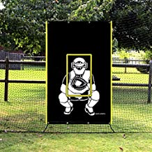 VANTA SPORTS Glow in The Dark Baseball Softball 4x6 Vinyl Pitching Zone Target Trainer Backstop Net Saver with Catcher Image