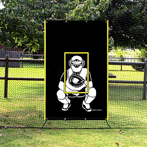 VANTA SPORTS 4'x6' Vinyl Backstop with Strike Zone and Catcher Image for Baseball/Softball, Batting Cage Backdrop and Net Saver