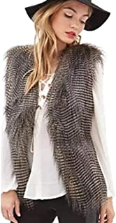 Simsly Autumn Fur Vest Sleeveless Lightweight Faux Fur Vests Winter Warmer Jacket Coat for Women and Girls(Grey)