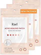 Rael Acne Pimple Healing Patch - Absorbing Cover, Invisible, Blemish Spot, Hydrocolloid, Skin Treatment, Facial Stickers, Two Sizes, Blends in with skin (72 Patches, 3Pack)