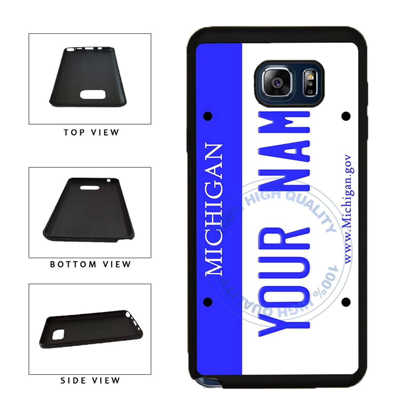 BleuReign(TM) Personalized Custom Name Michigan State License Plate TPU Rubber Silicone Phone Case Back Cover for Samsung Galaxy S8 Plus