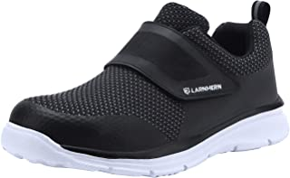 LARNMERN Mens Womens Steel Toe Work Shoes, LM-1821 Knit Breathable Lightweight Safety Shoes with Magic Tape