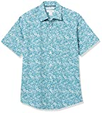 Amazon Essentials Regular-Fit Short-Sleeve Shirt Camisa, Flores Medianas Verde Azulado, M