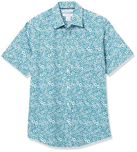 Amazon Essentials Regular-Fit Short-Sleeve Shirt Button-Down-Shirts, Flores Medianas Verde Azulado, L
