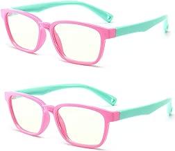 Anti Blue Light Glasses for Kids Computer Glasses,UV Protection Anti Glare Eyeglasses Computer Glasses Video Gaming Glasses for Children (2pack Pink Green)