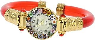 Murano Glass Millefiori Bangle Watch - Red