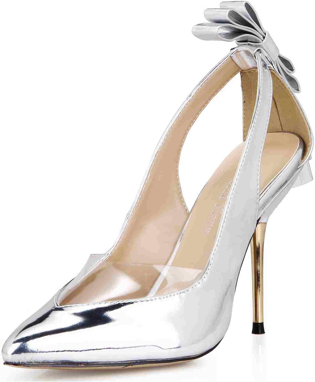 Dolphin Women's Black White Bowtie Point Toe Pumps High Heel Sandals Prom Wedding Party Stiletto SM00049