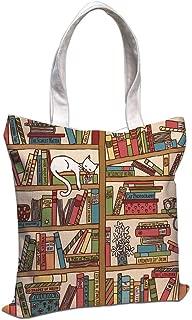 Cotton Linen Tote Bag, Cat Lover Decor,Nerd Book Lover Kitty Sleeping Over Bookshelf in Library Academics Feline Cosy Boho Design,Multi,for Shopping Camping School Casual Pocket