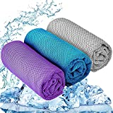 """YQXCC Cooling Towel 3 Pcs (47""""x12"""") Microfiber Towel for Instant Cooling Relief, Cool Cold Towel for Yoga Golf Travel Gym Sport Camping Football & Outdoor Sports (Purple/Light Blue/Light Gray)"""