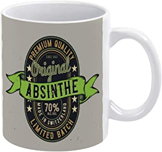 Absinthe Label Design Coffee Mug, Ceramic Mug Cup for Office and Home,Tea Milk,Birthday Gift For Her or Him,11oz