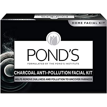 POND'S Charcoal Anti-pollution Home Facial Kit- With Cleanser, Scrub, Revitalizing cream, Massage Cream, Mask & Finishing Cream 72 g