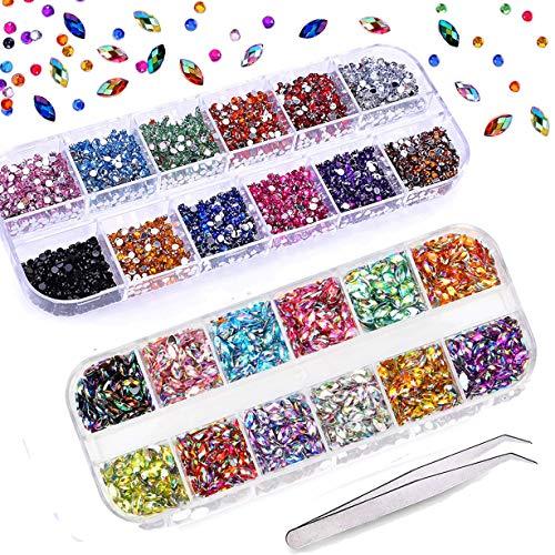 Mwoot Nail Art Strass 3000Pcs, Dos plat Tranchant/Demi-tour/Oeil de cheval Strass Multicolore Cristal Gem pour la décoration des ongles (pince à ramassage gratuit)