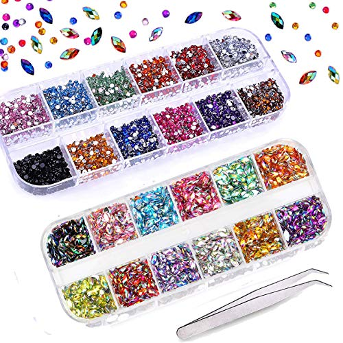Mwoot 3000Pcs (2 Boxes) Nail Art Rhinestones Kit with Tweezer, Multicolor Horse Eye Rhinestones and Round Flat Black Gems for Nail Art Decorations Craft