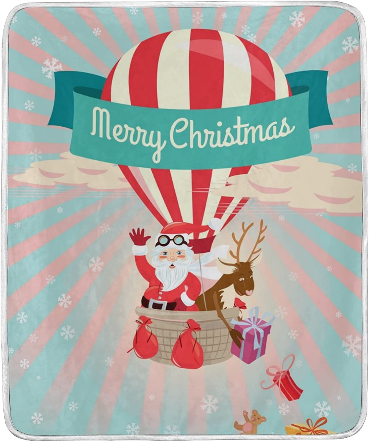 ALIREA Merry Christmas Santa Claus Wave Super Soft Warm Blanket Lightweight Throw Blankets for Bed Couch Sofa Travelling Camping 60 x 50 Inch for Kids Boys Girls