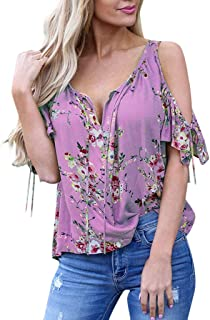 Printed Off-The-Shoulder T-Shirt Ladies V-Neck Short-Sleeved Loose Casual top Ruffled lace-up Shirt top MEEYA