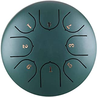 Bestlle Steel Tongue Drum for Yoga Meditation Relax, 8 Notes 6 Inches Percussion with Padded Travel Bag