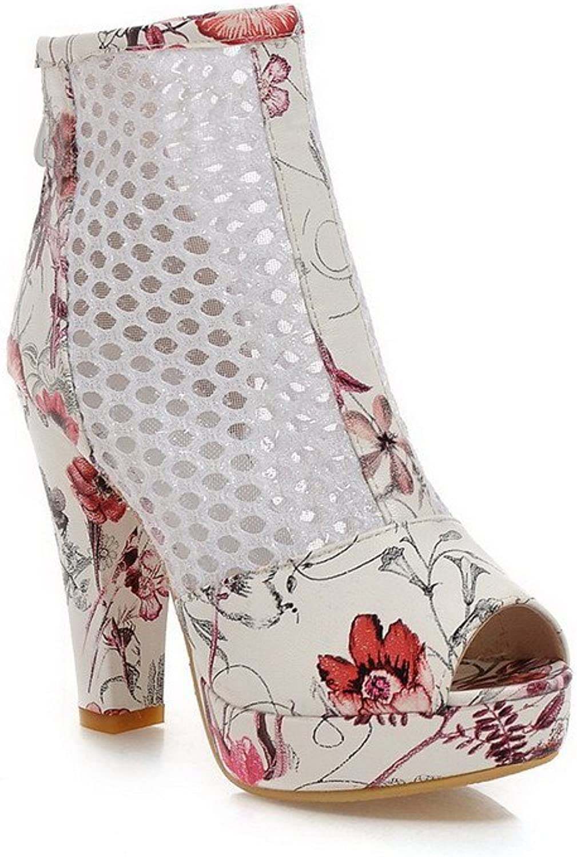 WeenFashion Women's Assorted color PU High-Heels Peep Toe Zipper Sandals