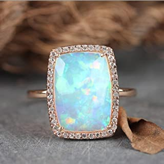 Rectangle Shape Genuine 2.17 Ct Ethiopian Opal Gemstone Cocktail Ring Solid 14k Rose Gold Pave Diamond Wedding Fine Jewelry