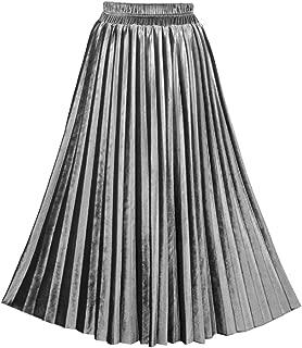 Fall Winter Skirt, Women's Velvet High Waist Pleated Midi Skirts