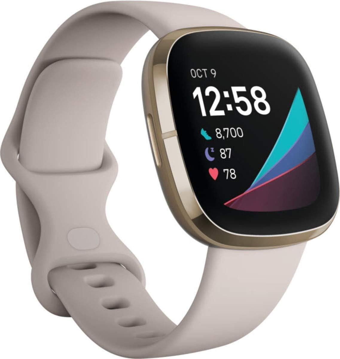 Ftibit sense blanco: con sensor de Temperatura, estrés, electrocardiograma y Frecuencia cardiaca