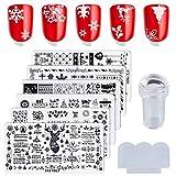 CCCYMM Lot de 6 plaques de Noël pour nail art avec motif de renne et flocon de neige - Kit de stamping - Pochoirs de manucure avec 1 tampon de vernis et 1 raclette par Salon Designs
