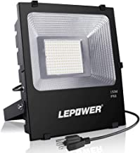 LEPOWER 150W LED Flood Light Outdoor, 11000lm Super Bright Work Lights with Plug, 6000K White Light, IP66 Waterproof Outdoor Floodlights Fixtures for Garage, Playground, Basketball Court, Yard