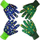 Kinder-Gartenhandschuhe für Spaß: weiche Arbeitshandschuhe für Kinder im Alter von 5–8 Jahren, Kleinkinder-Handschuhe (klein, blauer Hund und grüner Dinosaurier, 2er-Pack)