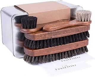 FootFitter Essential Shoe Brush Set - Horsehair Brushes for Polishing Men's Shoes!