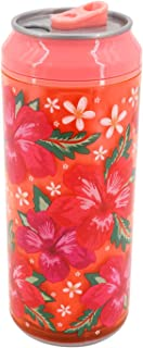 Coolgearcan (16 oz, Coral Hibiscus Flower) Plastic, BPA Free, Double Wall, Twist lid, Spill Proof
