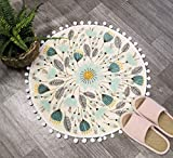 Uphome Round Small Area Rug 2ft with Chic Pom Pom Fringe Floral Velvet Bathroom Rugs Field Plants Non-Slip Soft Floor Throw Rug Machine-Washable for Living Room Bedroom Decor