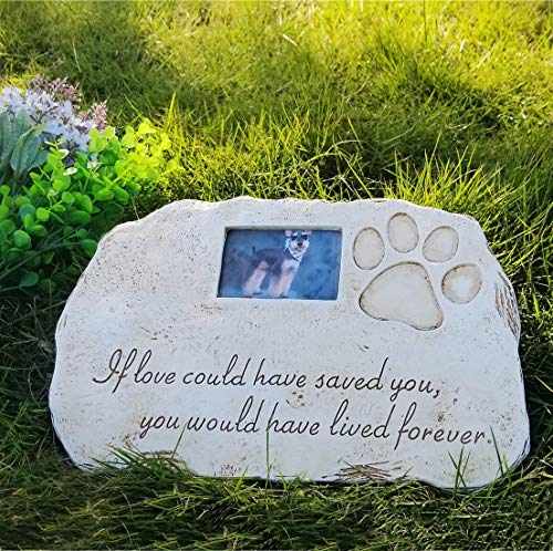 Re-Call Pet Tombstone Dog or Cat Memorial Stone Personalized with Waterproof Photo Dog or Cat Grave Markers in Lawn and Garden