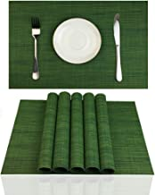 ZX VISION Placemats Set of 6 for Dining Table Stain Resistant Washable PVC Kitchen Table Mats Woven Vinyl Wipeable Table Placemat,Easy to Clean(Algae Green)