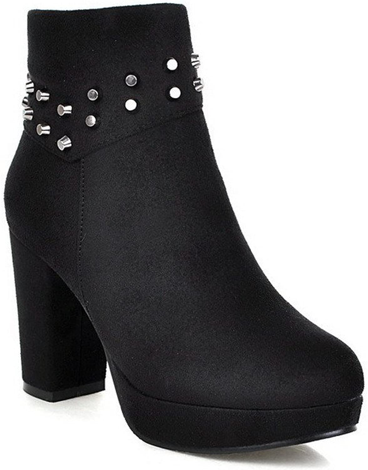 AmoonyFashion Women's Round Toe Closed Toe High Heels Boots with Side Zipper
