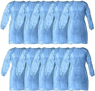 10枚入 防护服 クリーン服 ガウン 防護セット 作業服 保護服 Protective Suit 不織布 ブルー 感染防止 ウイルス対策 衛生防護用品 通気 男女兼用 (ブルー)