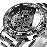 Watches, Men's Watches Mechanical Hand-Winding Skeleton Classic Business Fashion Stainless Steel Steampunk Dress Watch SilverBlack