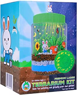 PREMIUM LARGE TERRARIUM KIT For Kids   -NEW-Remote Control MULTICOLOR LED Light-Up Lid   EXTRA Large Jar to Grow Customized Mini Garden   Excellent Science Gift For Children   Best Toys Present Age 6+