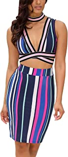 Acelyn Women's Sexy Striped 2 Piece Outfits Clubwear Dress Deep V-Neck Crop Top + Bodycon Midi Skirt