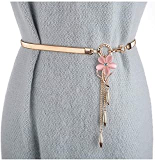 LUKEEXIN Women's Fashion Elastic Stretch Floral Belt Chain with Dress (Color : Pink)