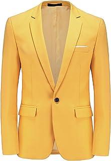 MOGU Giacca Uomo Elegante Blazer Vestito Abito Uomo Slim Fit Aderente Cappotto Casual Monopetto Un Bottone per Cerimonia B...
