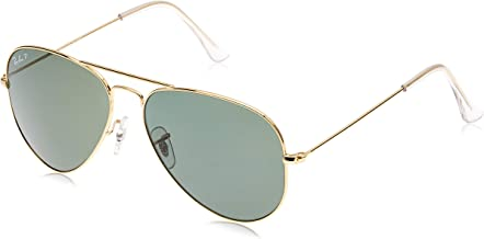 Ray-Ban RB3025 Aviator Large Metal Sunglasses 58 mm, Polarized, Arista Gold/Polarized Crystal Green