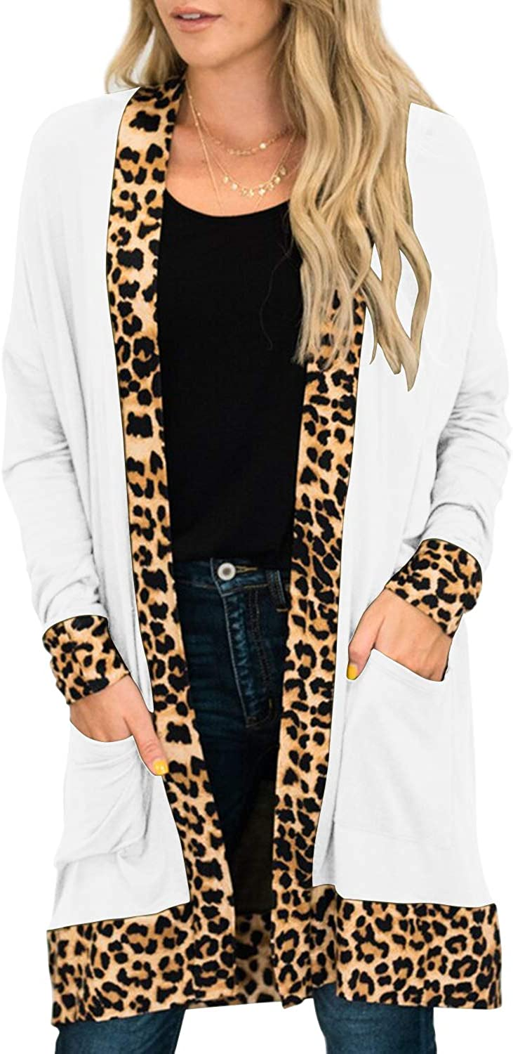 MITILLY Women's Casual Long Sleeve Leopard Trim Open Front Soft Knit Cardigan with Pockets