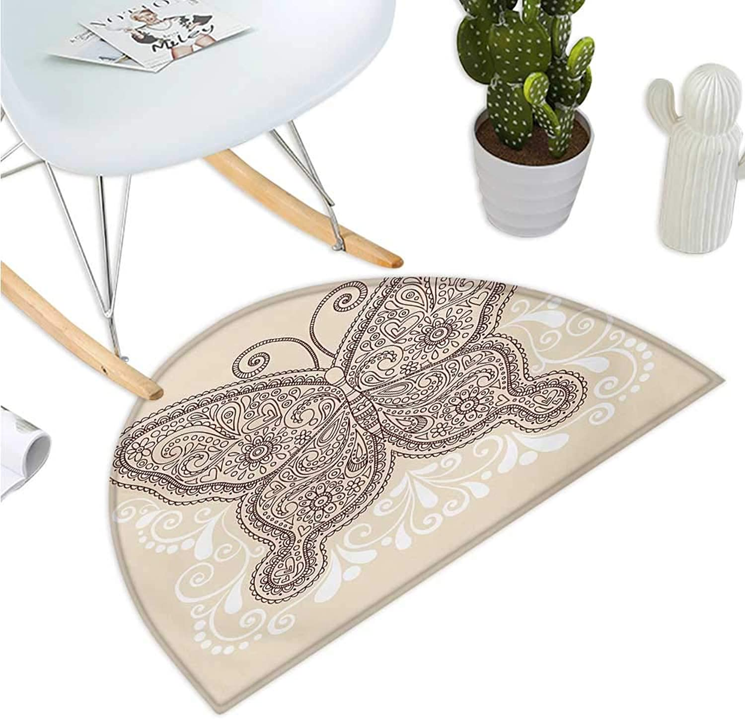 Henna Semicircular Cushion Hand Drawn Abstract Butterfly Various Design Elements Flowers Hearts Halfmoon doormats H 43.3  xD 64.9  Ivory Chesnut Brown White