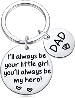 Dad Gifts from Daughter, Keychain for Dad, Father Gift-I'll Always Be Your Little Girl, You Will Always Be My Hero Keychain Men Key Chain for Daddy Birthday Father's Day