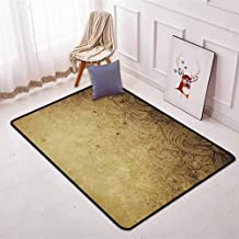 Vintage Children's Bedroom Carpet Aged Vintage Distressed Background with Swirling Flower Figures Faded Fashioned Effects Soft Fluffy W47.2 x L71 Inch Tan