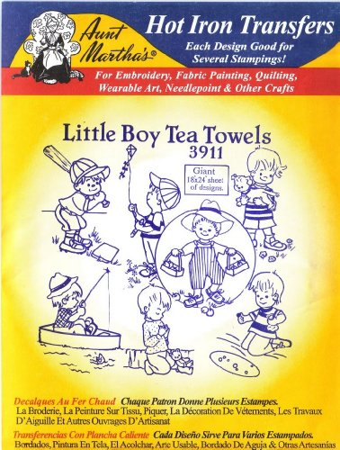 Little Boy Tea Towels Aunt Martha's Hot Iron Embroidery Transfer 18-x-24-Inch