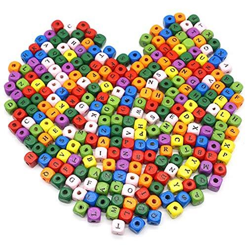 200 Piezas Cuentas de Madera del Alfabeto, Alfabeto A-Z Cubo Cuentas, Cuentas de Madera de Color Mixto, para Pulseras Collares Llaveros y Joyas para Niños, 10 * 10 mm